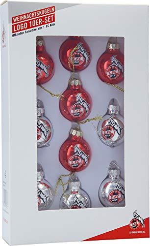 Unbekannt 1. FC Köln Weihnachtskugeln/Chrsitbaumkugeln ** Rot/Silber ** 4080385 10er Set
