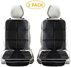 Tchipie 2 Pack Car Seat Protector Under Car Seat for Child Kids, Waterproof Baby Auto Carseat Protector for Leather Seats, Anti-Slip Black Car Seat Mat Pad with Thickest Padding