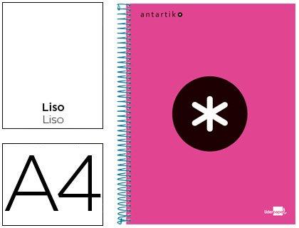 Liderpapel 74626 - cuaderno espiral A4 micro Antartik tapa forrada 120h 100gr liso con bandas 4 taladros color Rosa fluor
