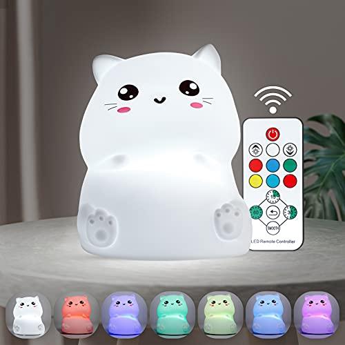 Leelike lucenotturnaled, luce notturna gatto del silicone LED, lampada da notte per bambini con telecomando e timer, per camera dei bambini, soggiorno, corridoi