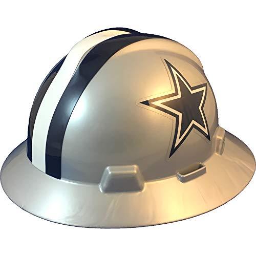 MSA 10194750 Dallas Cowboys NFL V-Gard Full Brim Hard Hat with Fas-Trac III Ratchet Suspension | Polyethylene Shell, Superior Impact Protection, Self Adjusting Crown Straps - Standard Size