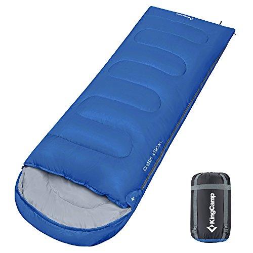 KingCamp 寝袋 2人 3人 用 連結 大きいサイズ 親子 シュラフ コンパクト 封筒型 キャンプ用品 防水 アウトドアマット 多様サイズ/カラー 3シーズン キャンプ 車中泊 登山 防災 軽量 圧縮収納袋付き 足元までジッパーで開けれる KS3222 ブルー L