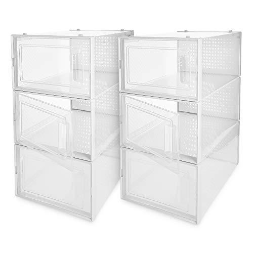 Navaris Set de 6 Cajas de Zapatos Transparentes - Cajas para almacenaje apilables - Organizador de plástico para Guardar Zapatos Juguetes Ropa