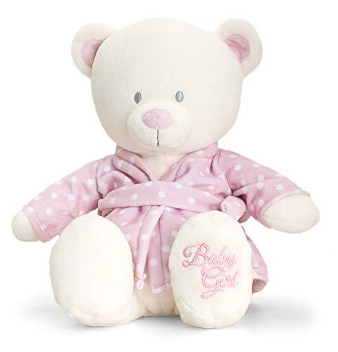 tachi Kuscheltier Teddy für Babys, Plüschtier Bär mit Bademantel Rosa, Stofftier Bärchen 25 cm