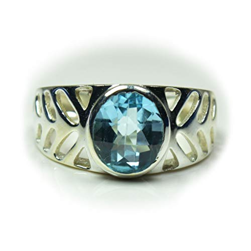 Gemsonclick Natural Blue Topaz Cushion Sterling Silver Wedding Ring Handmade Jewelry Ring Sizes 4 to 13
