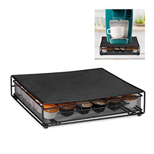 Relaxdays Kapselhalter für 36 Dolce Gusto Kaffeekapseln, rutschfeste Kapselschublade, Metall, HBT: 8x33,5x32 cm, schwarz, 10028956_46