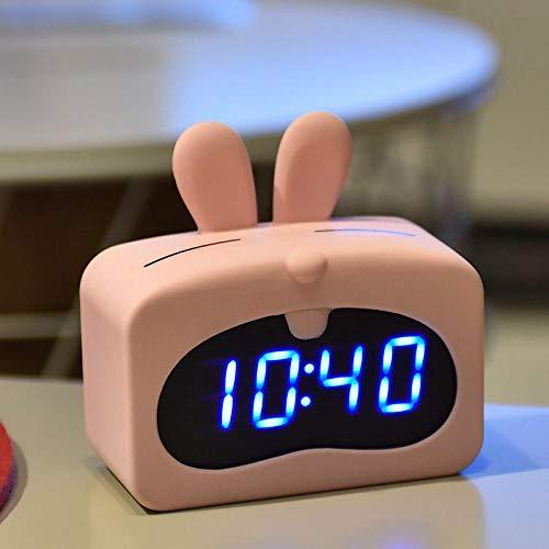 Generic Wecker Mode LED kreativ elektronisch Leuchtend leise Thermometer und Hygrometer niedlich Pulver Kaninchen Wake up