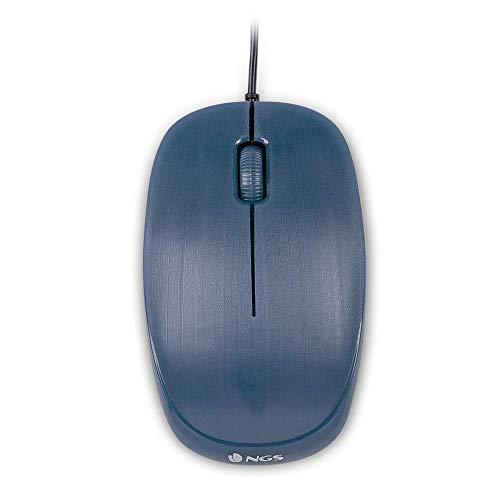 NGS FLAME BLUE - Mouse Ottico 1000dpi con Cavo USB, Mouse per Computer o Laptop con 3 Pulsanti, Ambidestro, Blu