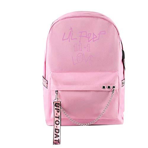CQW Lil Peep College School Bag Carga Conveniente Mochila Bolsa de Viaje de Calle Bolsa de Ordenador Recargable por USB (12)