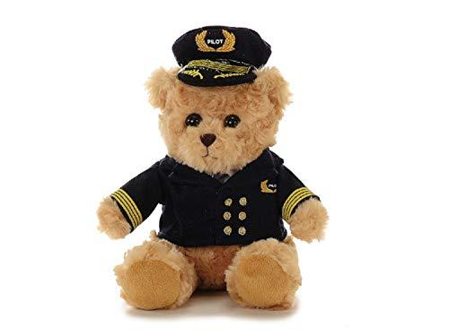 Stofftier Teddybär mit Jacke und Mütze | Bär Spielzeug Plüschtier Beige 23 cm Groß | Kuscheltier weich flauschig | Plüschbär waschbar | Schmusetier Geschenke-Ideen für Kinder| Bär Pilot