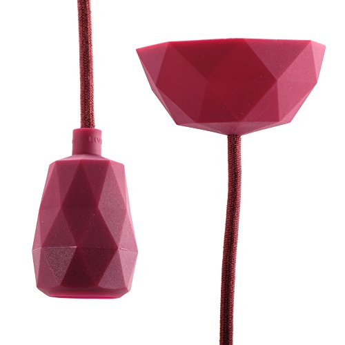 DIY opknoping LAMP Raak | 3m kabel, bordeaux | silicone eettafel lamp, lamp stopcontact, plafondlamp, hanger