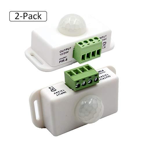 Samxu PIR Infrared Motion Sensor Detector, DC 12V~24V Strip Light Motion Sensor Switch, PIR Human Body Motion Sensor Detector Inductor Switch for Cupboard Cabinet Kitchen Stairs (2 Pack)