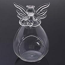 NFSWMHLE Romantic Angel Crystal Glass Candle Holder Hanging Tea Light Lantern Candlestick Burner Vase DIY Home Wedding Par...