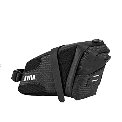 SHENGYANG,Waterproof Bike Saddlebag, Bicycle Under Seat Pouch For Mountain, Beach Or Road Bikes - Reflective Lining, Black