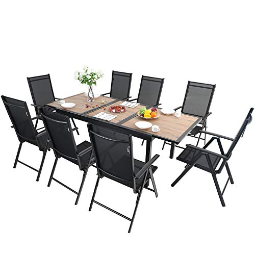 MFSTUDIO 9-Piece Metal Outdoor Patio Dining Furniture Set with 8 Sling Folding Chairs and 1 Expandable Outdoor Dining Rectangle Table with Wood-Like Surface Top for Deck,Garden,Courtyard