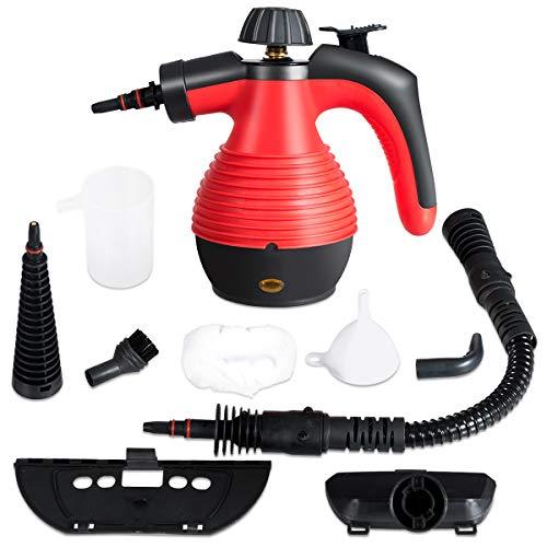 GOPLUS Mehrzweck Dampfreiniger, Handdampfreiniger mit 350 ml Wassertank, 3 Bar, 1050 W, 3-5min Aufheizzeit, mit 9 Zubehörteilen für Fleckenentfernung von Teppich Vorhang Autositz Küche (Rot)
