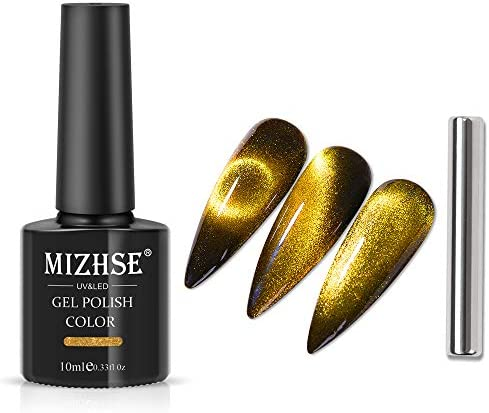 MIZHSE 10ml Golden Universal Cat eye Gel Nail Polish Bright UV Gel Nail Polish Glitter Nail product image