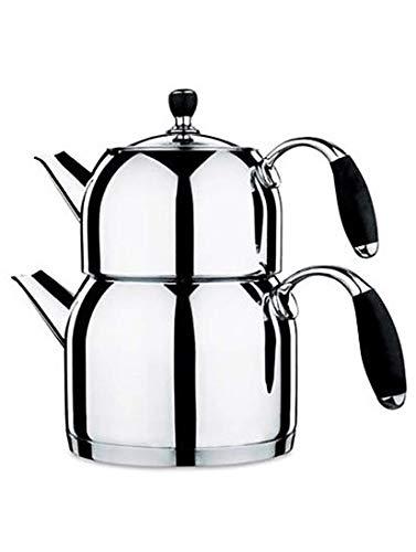 Korkmaz Teekannen Set A119-01   3,1L Caydanlik   silber   Tee-Kanne   Kanne   Orientalische Kannen