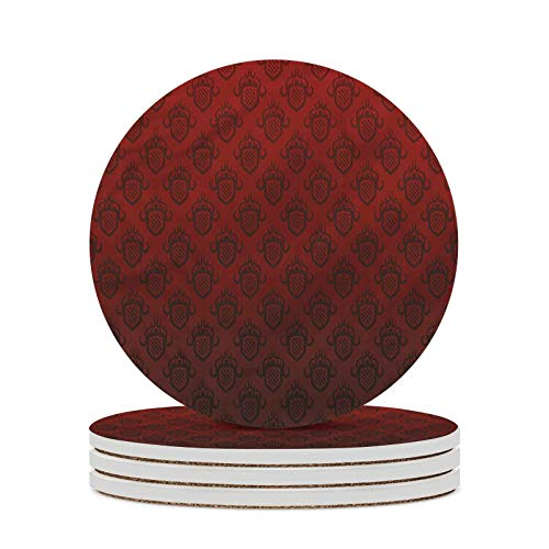Maroon Decorative Coasters Venetian Style Royal Ancient Absorbent Coasters with Cork Base for Home Decor Desk Tray or Coffee Table Decor