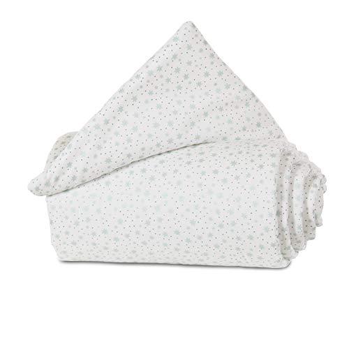 babybay Grille de Protection en Coton Organique pour Grille de Fermeture Tous Modèles Blanc avec Étoiles Pailleté Menthe 1 Unité