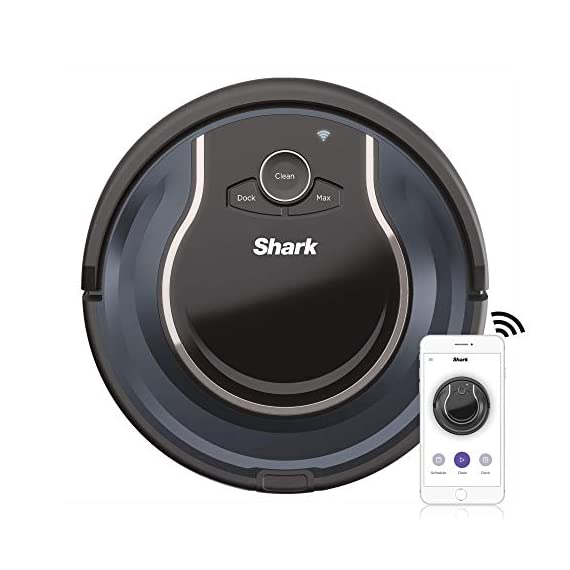 Shark ION Robot App-Controlled Robot Vacuum, RV761 - Black/Navy Blue (Renewed) 1 Schedule cleanings and control robot with Shark Clean(tm) app, Alexa, and Google Assistant. Powerful cleaning with more suction than Shark RV750. Multi-surface brushroll captures debris and hair on carpets and hard-floors.