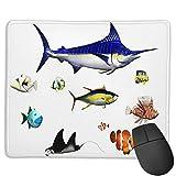 Alfombrilla de ratón para juegos personalizada,Acuario, diferentes especies de peces en pose,,Alfombrilla rectangular de goma antideslizante para oficina para computadoras portátiles de 9.8'x 11.8'