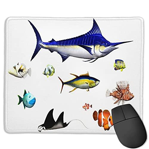Benutzerdefinierte Office-Mauspad,Aquarium,verschiedene Fischarten in Pose Swo,Anti-Rutsch-Gummibasis Gaming Mouse Pad Mat Desk Decor 9.8