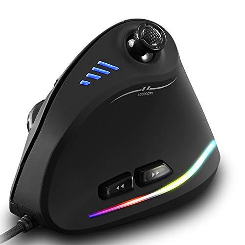 MUXAN Gaming Maus, Optische Vertical Gaming Mouse mit Joystick,Ergonomisches Design Vorbeugung gegen Mausarm,11 programmierbare Tasten,10000 DPI einstellbar,5-Wege-Joystick,Farb RGB Lichtleisten