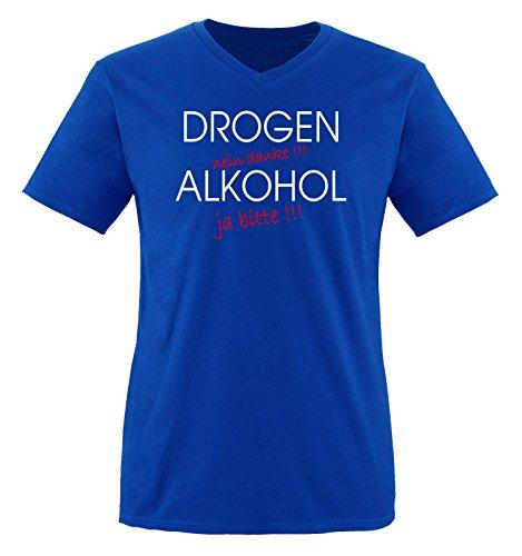 Comedy Shirts - Drogen - Nein Danke - Herren V-Neck T-Shirt - Royalblau/Weiss-Rot Gr. XXL