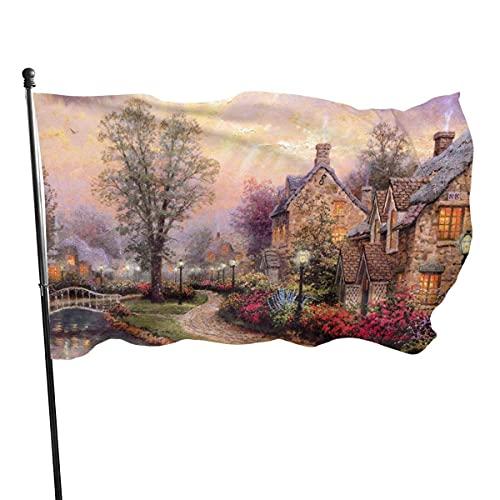Bandera de la pintura al óleo de la casa del río de la ciudad 3x5 pies Bandera decorativa al aire libre Bandera estándar colgante exterior para las vacaciones del césped del jardín del patio