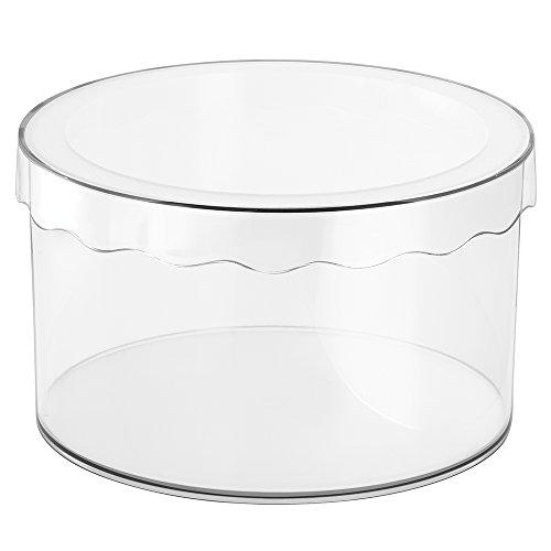 InterDesign Clarity Sombrerera con Tapa, pequeña Caja de Almacenamiento Redonda en plástico para pañuelos, Sombreros y Otros Accesorios, Transparente