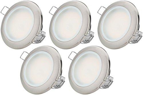 TEVEA Flach LED Einbaustrahler IP44 für den Wohnbereich | auch für das Bad geeignet | 3.5W 230V | Einbauspots Badleuchten (Kaltweiss)