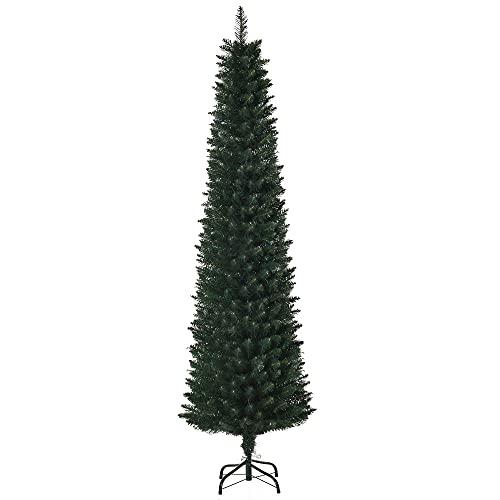 HOMCM Albero di Natale Artificiale Alto con Base Pieghevole, 380 Rami, in PVC e Metallo, Φ56x180cm, Verde