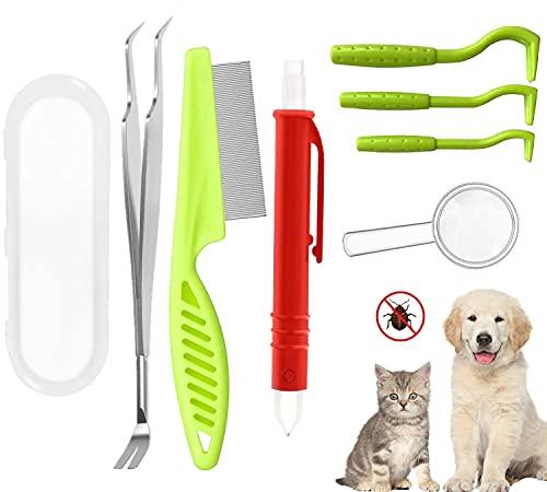 SAKUUMI Zeckenzange Set für Hunde & Katze, Profi Zeckenhaken Zeckenentferner Set 5er Pack Zeckenzange Sicher & Effektive Zeckenpinzette mit Aufbewahrungsbox für Hunde Haustiere, Katze