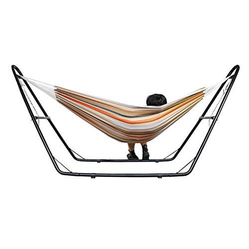 Leogreen - Hamac, Balancelle Jardin, Beige/Brun/Orange, avec Support Type-H, Brésilien, Coton, Capacité: pour 2 Personnes, Taille déployée: 315,0 x 94,0 x 121,9 cm