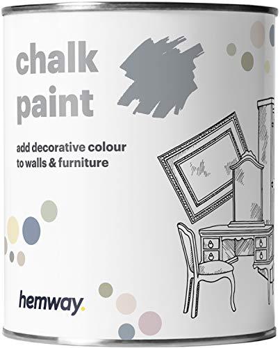 Hemway Kreidefarbe in Schiefergrau, matt, Wand- und Möbelfarbe, 1 l, Shabby Chic, Vintage, Chalky (mehr als 50 Farben erhältlich)