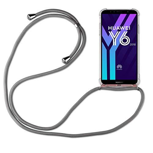 betterfon | Huawei Y6 2018 Handykette Smartphone Halskette Hülle mit Band - Schnur mit Case zum umhängen Handyhülle mit Kordel zum Umhängen für Huawei Y6 2018 / Honor 7A Grau