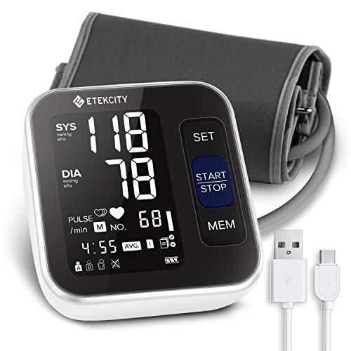 Etekcity Oberarm-Blutdruckmessgerät für präzise Blutdruckmessung/Pulsmessung/Herzschlag, 2x120 Dual-User-Modus, klares LCD Display mit ergonomischer Anlegeintelligenz, optionale Sprachsendung, schwarz