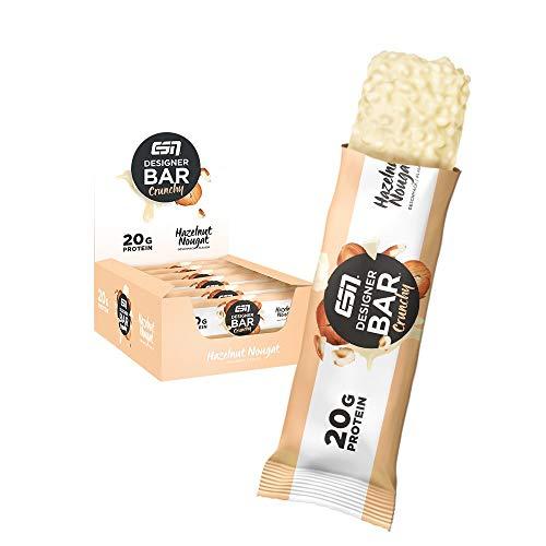 ESN Designer Bar Crunchy Box – 12x 60g – Hazelnut Nougat – Protein Riegel ohne Zuckerzusatz - High Protein – Lower Carb – Ohne Palmöl - Made in Germany