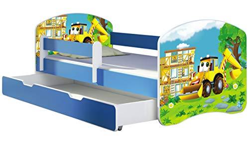 ACMA Kinderbett Jugendbett mit Einer Schublade und Matratze Blau mit Rausfallschutz Lattenrost II 140x70 160x80 180x80 (20 Bagger, 160x80 + Bettkasten)
