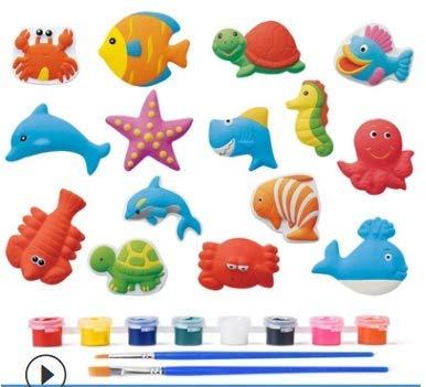 ZoneYan Juguete Kit Yeso Niños, Juguete Pintura Yeso, Pintar Animales Yeso, 3D Figuras Animales Pintura, Pintura Manualidades Juego Creativos, Juguete Coloración Yeso (Serie de Vida Marina)