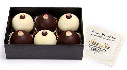 Original Salzburger Venusbrüstchen | Maroni-Nougatmasse in weißer oder dunkler Schokolade mit einem Stück Amarenakirsche | Gaumenfreude (6 Stück)