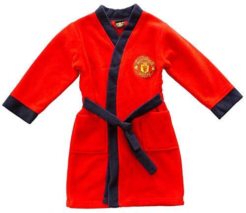 GetWivvit Jungen Offiziell Manchester United Bademantel Man Utd Bademantel Größen Von 18 Monate Bis 4 Jahre - Rot, 3-4 Years