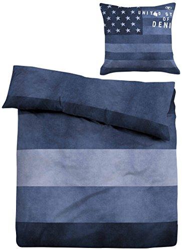 TOM TAILOR 0049467 Linon Bettwäsche Garnitur mit Kopfkissenbezug (Baumwolle) 1x 135x200 cm + 1x 80x80 cm, indigoblau