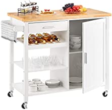 Kealive Kitchen Island on Wheels Rolling Kitchen Island with Storage, Wooden Mobile Island for Home Style, Wood Top Drawer Handle Rack, Brown 41.3L x 18.9W x 35H
