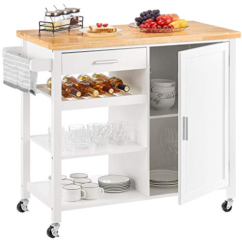 kealive Kitchen Island on Wheels White Rolling Kitchen Island with Storage Wood Top Wine Shelf Cabinet Handle Rack Drawer, Home Style 41.3L x 18.9W x 35H