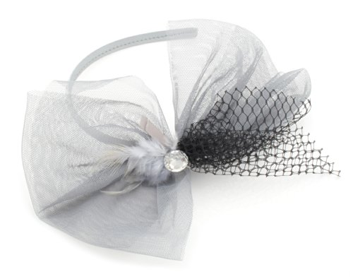 Grey Mesh Net Feather & Large Sparkly Gem Alice Band Hair Accessories by Zest by Zest