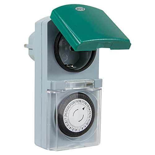 REV 0025700409 Zeitschaltuhr, für innen und aussen, mechanisch, 48 Zeiten/Tag, 30Min. 3680W, silbern