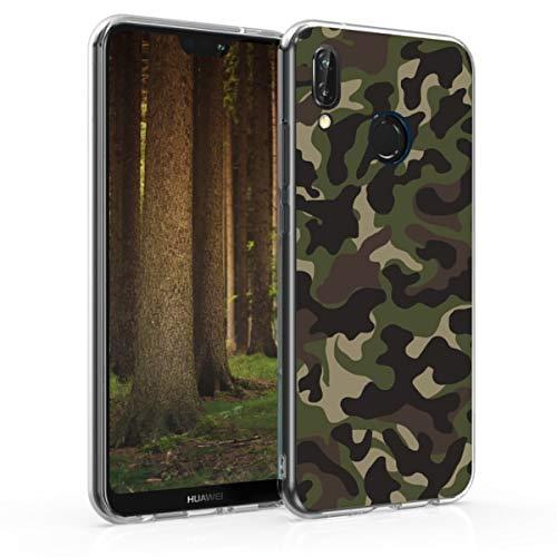 kwmobile Carcasa Compatible con Huawei P20 Lite - Funda de TPU y Camouflage en Verde Oscuro/marrón Oscuro/Beige