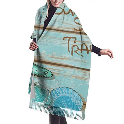 YANAIX Damen Herbst Klassischer Winterschal, Starfish Decor , Sommer Sea Travel Retro Boards Schiff Deck Seil Jakobsmuscheln, Schal Warm Soft Chunky Large Blanket Wrap Schal Schals